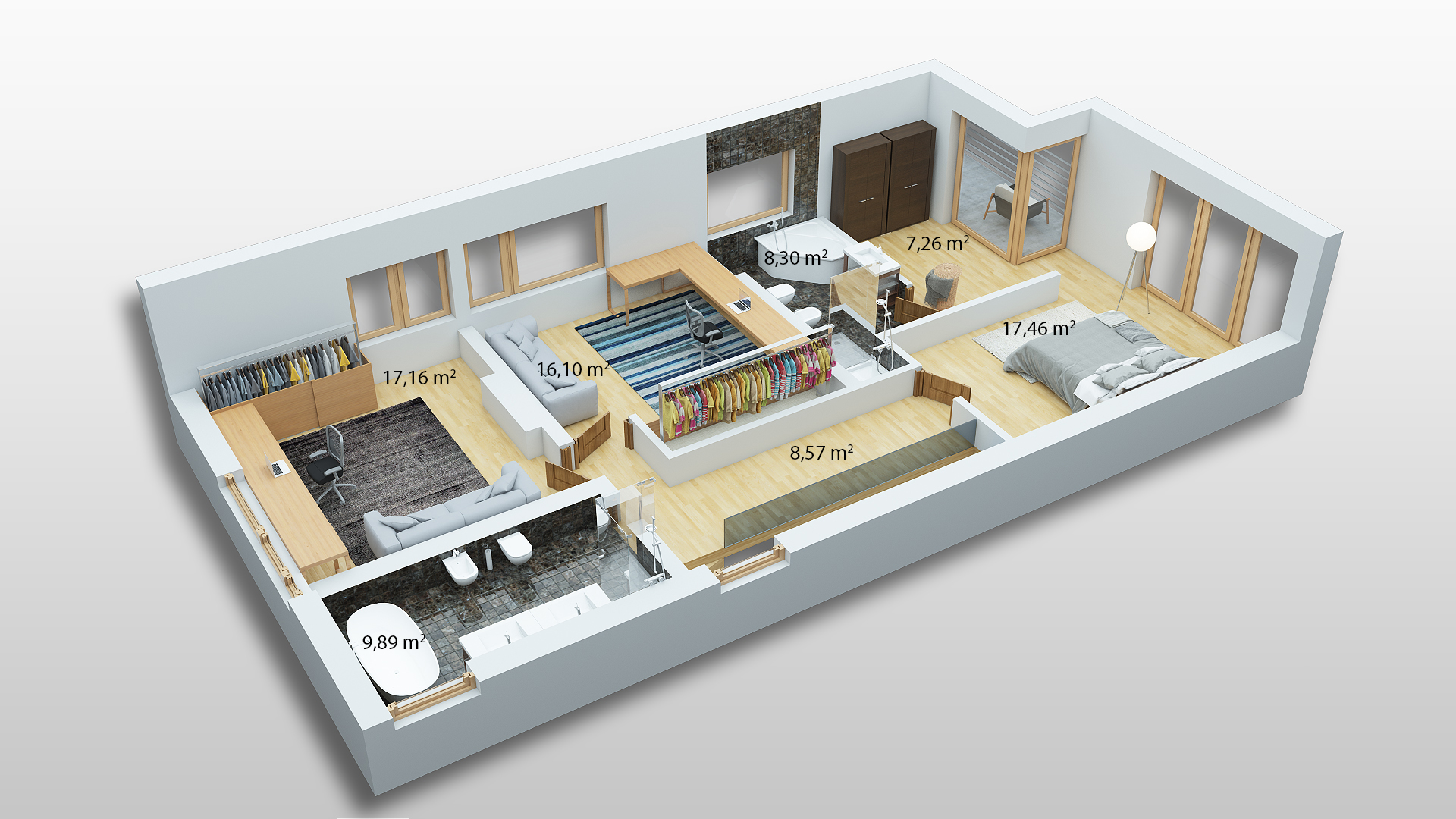 Sostinės Parkas - Pirmojo namo varianto antrojo aukšto palnas